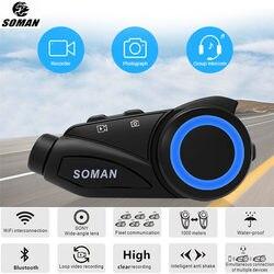 SOMAN M3 Waterproof Group 6 Riders Intercom Motorcycle Headset Bluetooth WIFI Recorer Helmet Interphone W/ HD 1080P Lens DVR