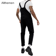 Allthemen Fashion Men's Jeans Pants Trousers Overalls High Street Denim Jumpsuits Men Bib Pants Cowboy Male Jean Dungarees