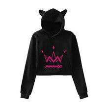 2020 MAMAMOO fashion print Cat Crop Top Women summer pop Hoodies Sweats