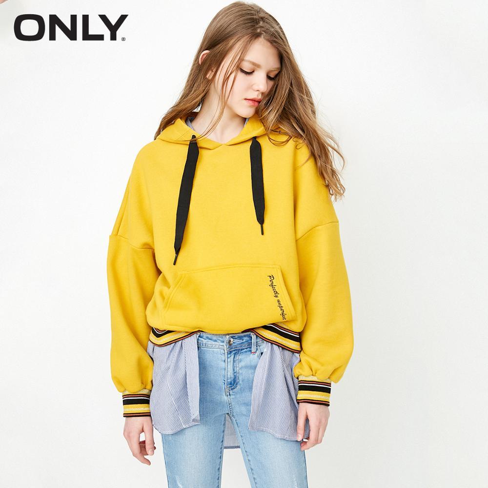 ONLY Autumn New Hooded Fleece Warm Loose Hoodie Sweatshirt  |  11839S513