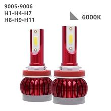 2pcs 6000K 9005/9006/H1/H4/H7/H8/H9/H11 Car LED Headlight High/Low Beam Bulbs Lamp White LED Light Headlight 6500LM 12V/24V DOB цена