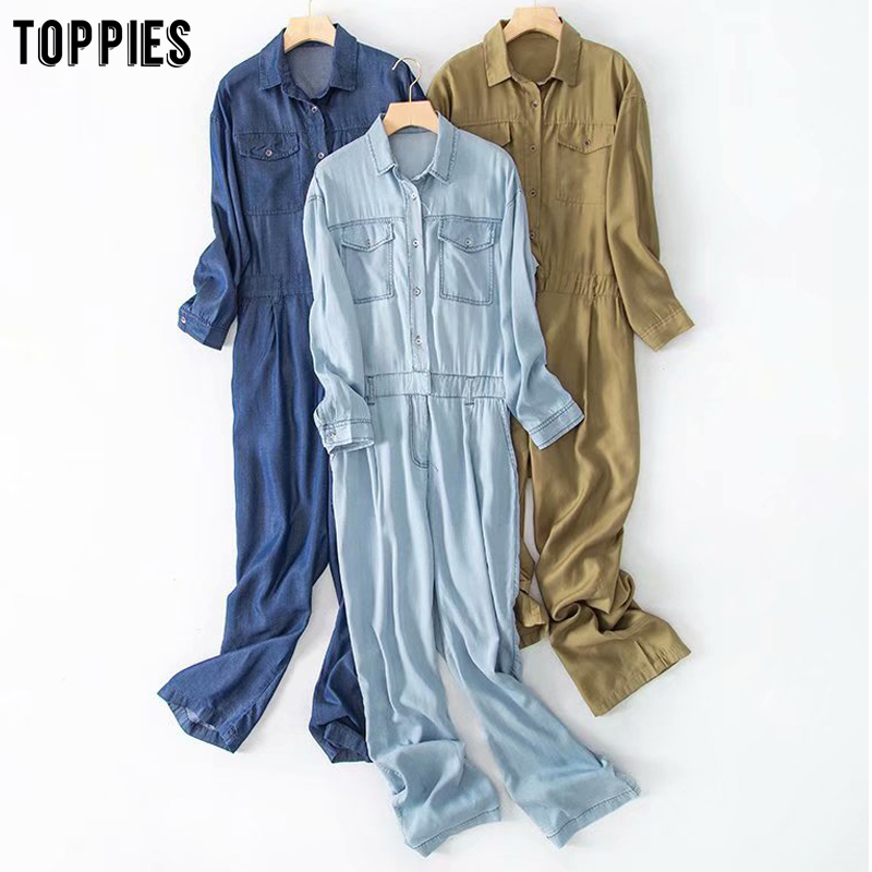 Toppies Denim Jumpersuits Womens Rompers Vintage 2020 Spring Button Overalls Casual One Piece Outfit