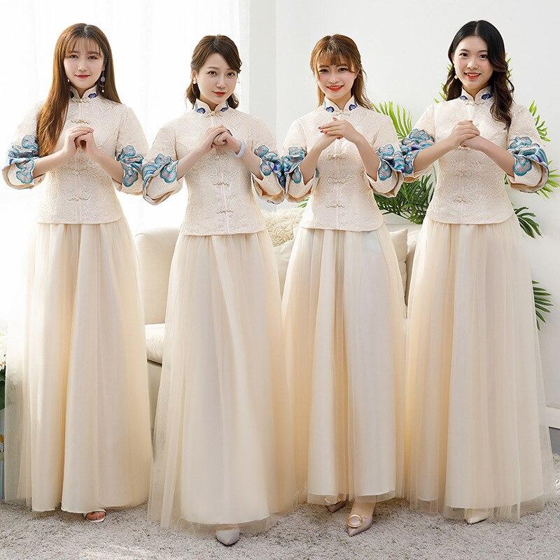 Women Embroidery Qipao Elegant Chinese Traditional Wedding Bridesmaid Dress Plus Size Lady Mandarin Collar Cheongsam X-4XL