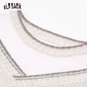 Image 4 - ELFSACK מתוק תחרה טלאי נשים סוודרים, 2019 סתיו אופנה טלאי נצנצים Femme סרוג חולצות קוריאה מזדמן בגדים