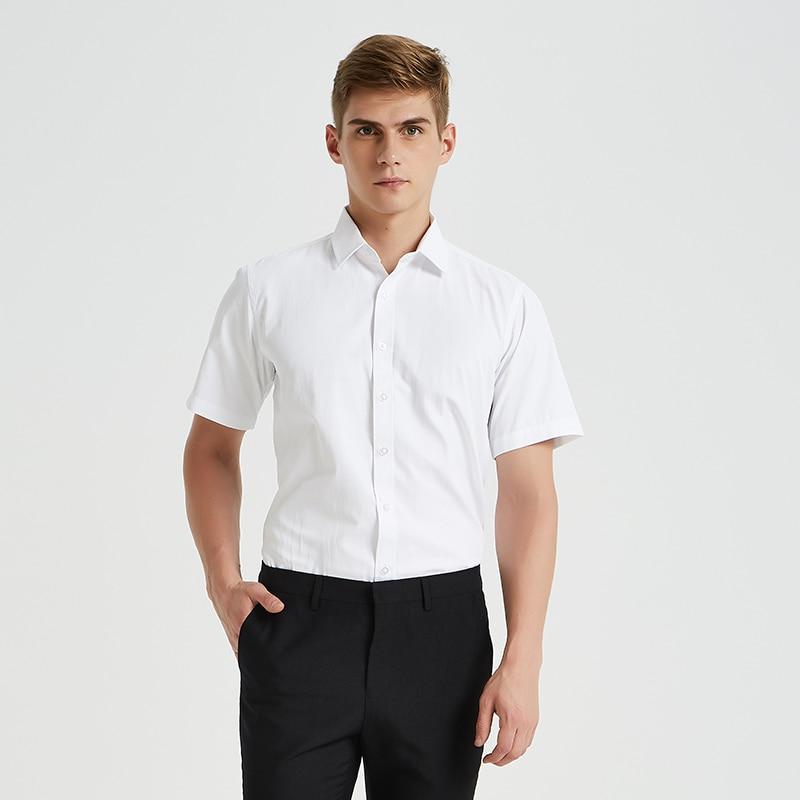 Summer Style Short Sleeve  Men Dress Shirt Pocketless Social Regular Fit Solid Plain Male Casual Shirt Easy Care Blue White