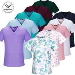 Медицинская одежда размера плюс, розовая с цветочным принтом, униформа для кормления, медицинская одежда, стоматологическая клиника, больн...