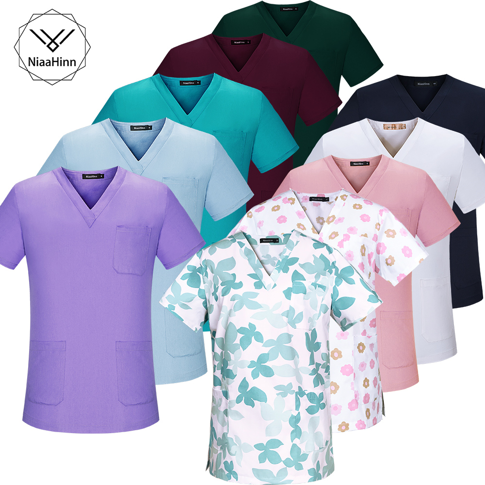 Plus Size Medical Clothes Pink Flower Printing Nursing Uniforms Medical Clothing Dental Clinic Hospital Work Wear Surgical Suit