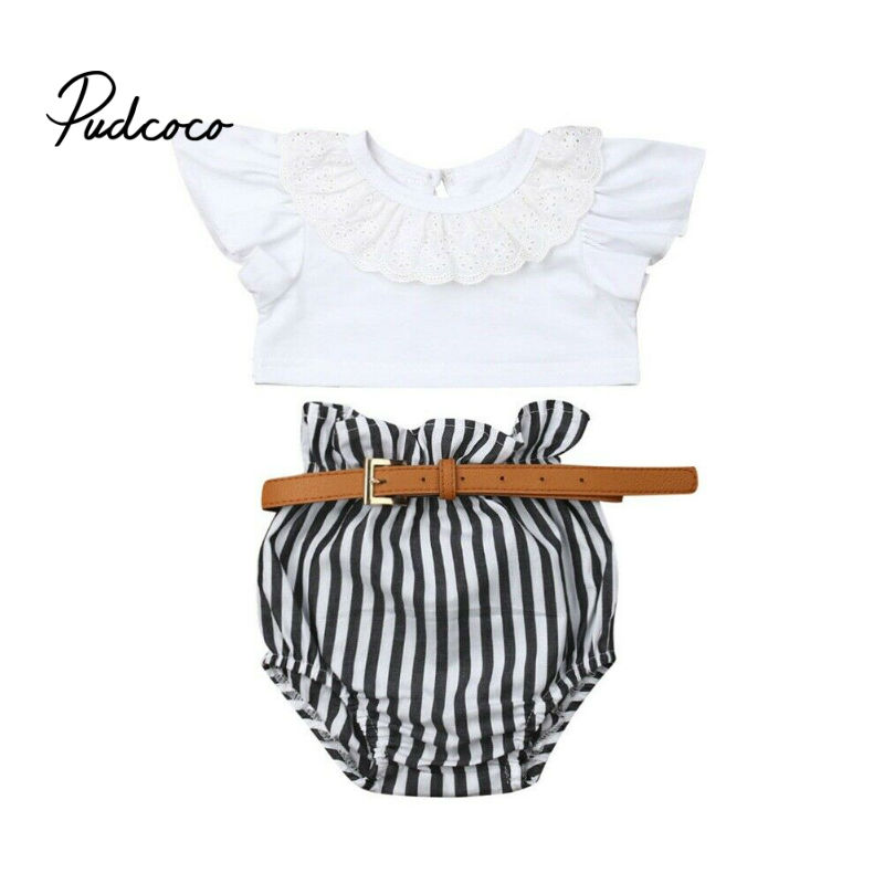 Infant Baby Girls Outfit Clothes Bow Tie Flower /& Leaf Halter Backless Tank Top Shirts Short Tassels Skirts Dress Set