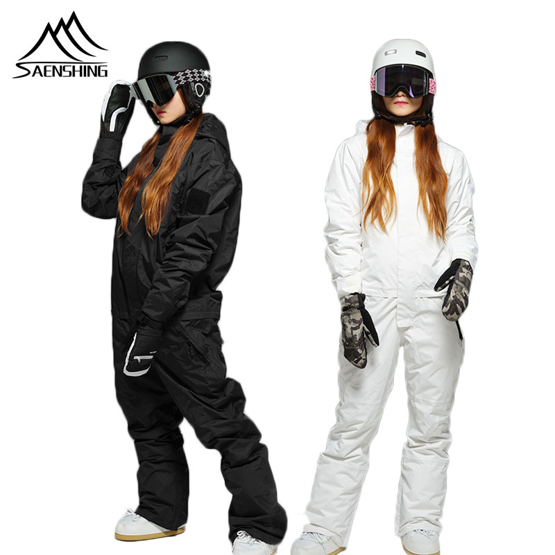 SAENSHING One Piece Ski Suit Women Mountain Skiing Snowboard Ski Suit Female Waterproof  Winter Warm Snow Jumpsuit