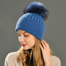 Pompom Hat Beanies Cap Wool Raccoon-Fur Natural Women Winter Real for Removable Female