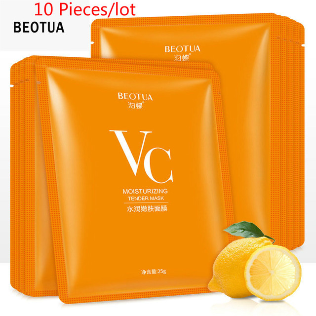 10 pcs VC Moisturizing Rejuvenation Face Mask High Quality Acne Treatment Oil Control Shrink Pores Moisturizing Vitamin Mask