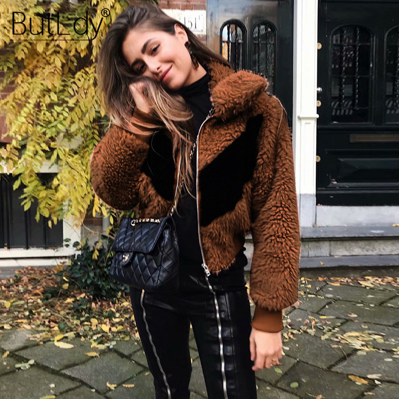 Lapel Zipper Stitching Brown Short Jacket Women Long Sleeve New Style Warm Wool Coat Women Autumn Winter 2019 Ladies Coats in Wool amp Blends from Women 39 s Clothing