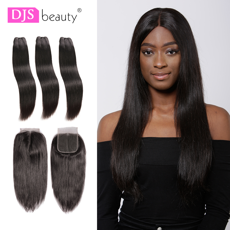 Straight Human Hair 3 Bundles With 5x5 Closure Indian Virgin Hair Weave Bundles Natural Color Virgin Hair Extensions DJSbeauty