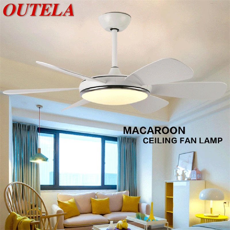 2019 Latest Design Outela Ceiling Fan Led Light With Remote Control 3 Colors 220v 110v Modern Decorative For Rooms Dining Room Bedroom Quell Summer Thirst