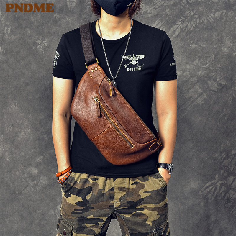 PNDME Fashion Vintage Genuine Leather Men's Chest Bag High Quality Cowhide Casual Large Messenger Bags Multi-function Waist Pack