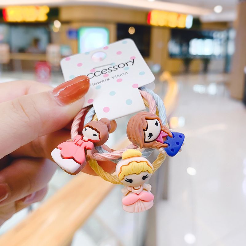 3Pcs/Set Hair Rope Girls Flower Cartoon Animal Hair Rope Elastic Kawaii Hair Ties Bow Baby Girls Cute Hair Accessories Korean