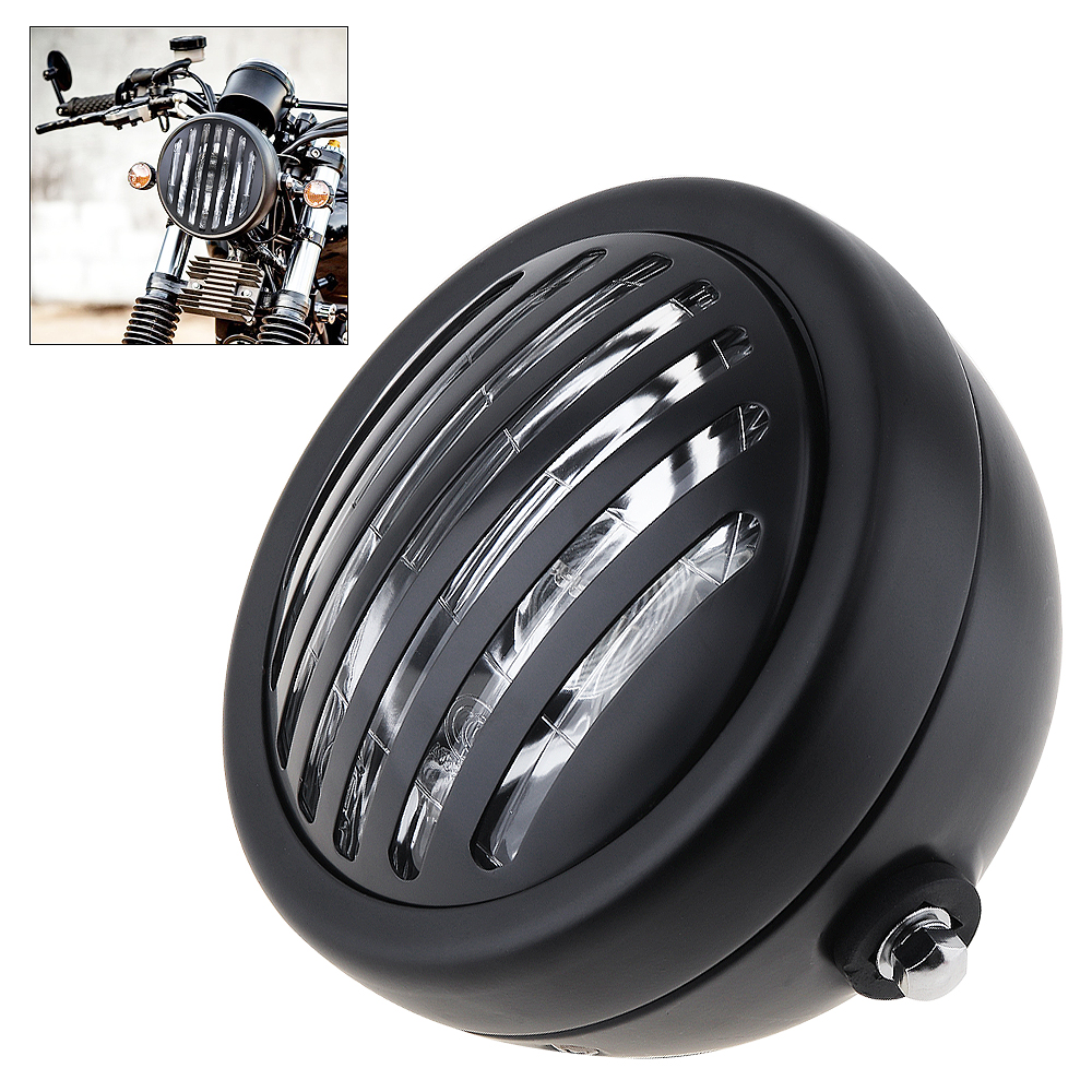 12V Universal 6 Inch Motorcycle Headlight Retro Refit White Light Metal with Grill Cover