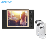 HOMSECUR 8 Wired Video Door Intercom System+2 Cameras IR Night Vision Outdoor Monitoring for Apartment TC021 S + TM801 B