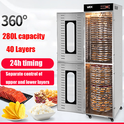 280L  26/40-layer Food Dehydrator Stainless steel dried fruit machine fruit vegetable meat dehydrated food dryer 4000W