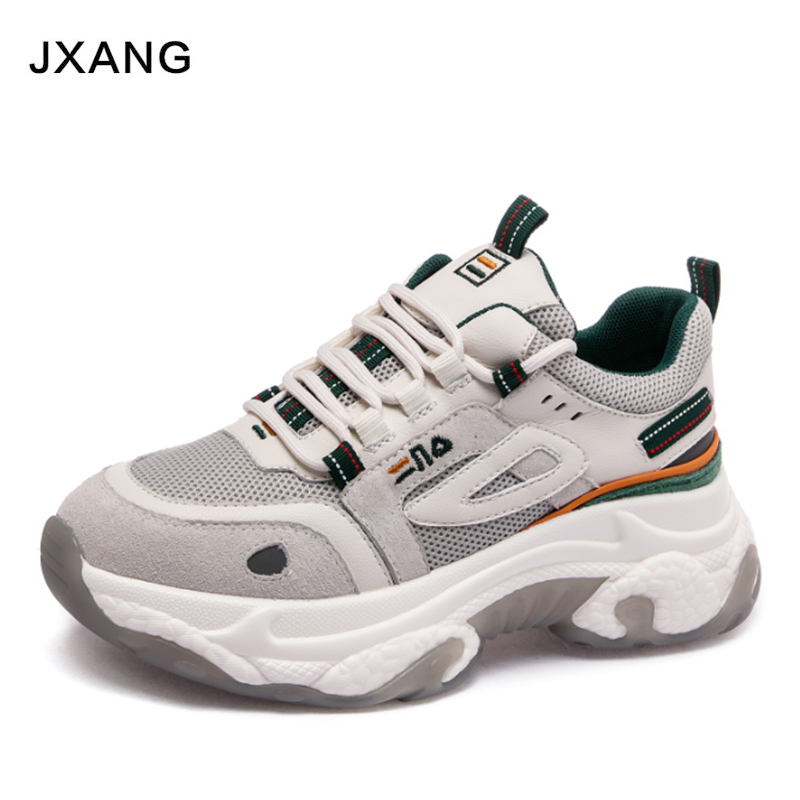 JXANG Women Platform Chunky Sneakers 5cm High Lace-up Casual Vulcanize Shoes Luxury Designer Old Dad Female Fashion Sneakers