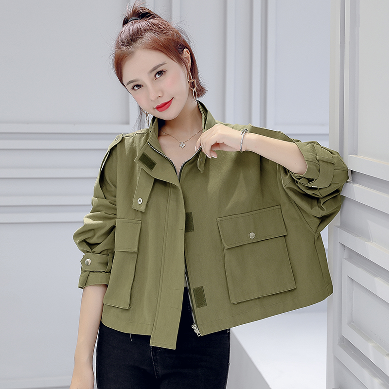 Winter Women Jacket Short Women's Windbreaker Tooling Jacket Female Loose Casual Pocket Coat 6