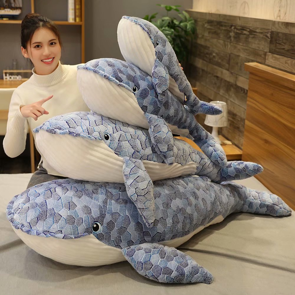 50-110cm Giant Size Whale Plush Toy Blue Sea Animals Stuffed Toy Huggable Shark Soft Animal Pillow Kids Gift