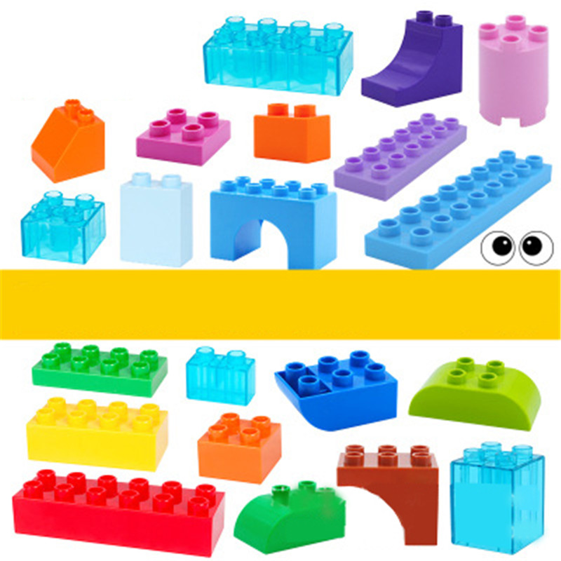 6Pcs Big Size Duploe Train Building Blocks Bricks Accessory Compatible With Duplos Base Transparent Square Toys For Children