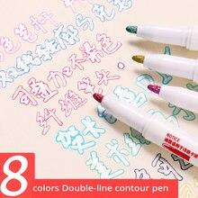 8/12 cores arte esboçar marcadores desenho conjunto de linha dupla highlighter pincel caneta escola arte suprimentos papelaria scrapbooking