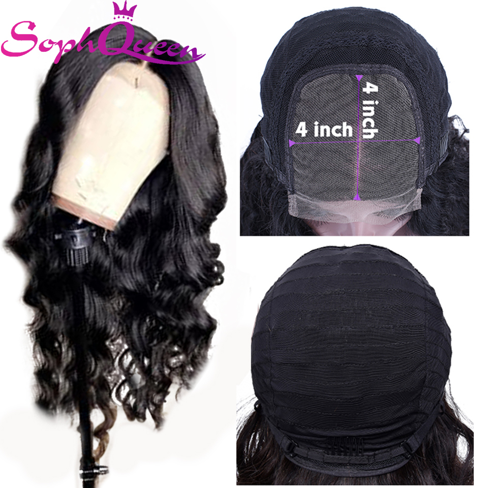 Soph Queen Brazilian 4*4 Lace Closure Human Hair Wigs Body Wave Non Remy Human Hair Wigs For Black Women