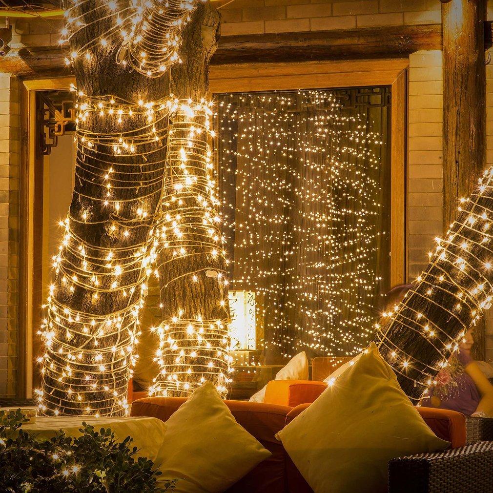 100 LED Battery Powered Bulb Column Christmas Tree Decoration Lamp String IP44 Courtyard Decorative Light String