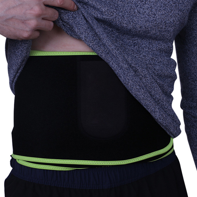 Women Men Sweat Wrap Waist Trimmer Neoprene Protective Weight Loss With Pocket Black Workout Exercise Belt Adjustable Flexible
