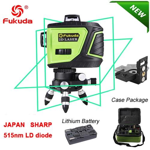 Fukuda бренд 12 линий 3D MW93T-3GX лазерный уровень самонивелирующийся 360 горизонтальный и вертикальный крест супер мощный зеленый лазерный луч - Цвет: 93T-Green3GX-Bracket
