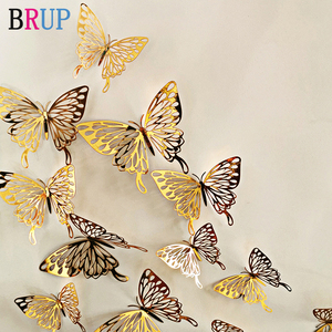 12Pcs/lot New 3D Hollow Golden Silver Butterfly Wall Stickers Art Home Decorations Wall Decals for Party Wedding Display Shop(China)