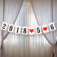 Customized Anniversary Date Flag Banner Wedding Party Decoration Birthday Supplies Hang Baner
