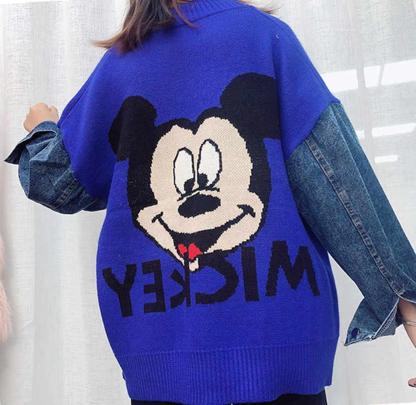 秋と冬の漫画のセーターのジャケット長袖ルーズパッチワークデニムニットカーディガンコートミッキーセーター生き抜く