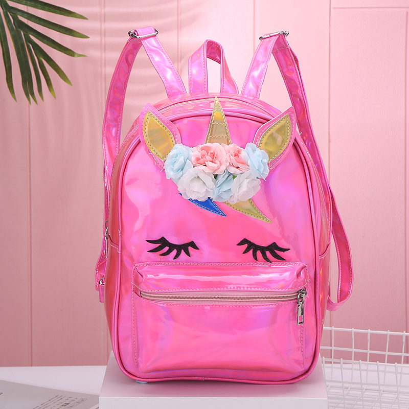 Backpack New Women Backpack Unicorn Travel Bags Silver Laser Backpack Women Girls Shoulder Bag PU Leather Holographic Backpack