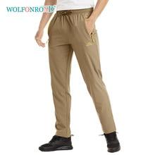 Wolfonroad verão leve calças esportivas dos homens caminhadas acampamento ao ar livre com 3 bolsos com zíper elástico calças de fitness homem