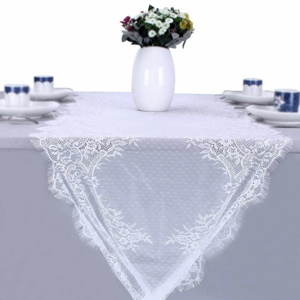 55*300 см белая скатерть, стул, пояс, ужин, банкет, Крещение, белый цветочный кружевной стол, дорожка для свадебной вечеринки, украшение стола