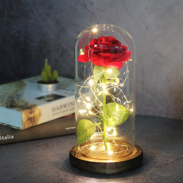Artificial flowers Eternal Rose LED Light Beauty The Beast In Glass Cover Wedding Home Decor For Birthday Mother Day Gift 1