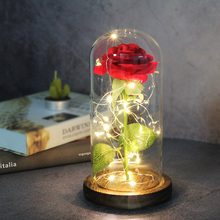 Led-Light Glass-Cover Gift Rose Beauty-The-Beast Christmas Home-Decor Valentines-Day