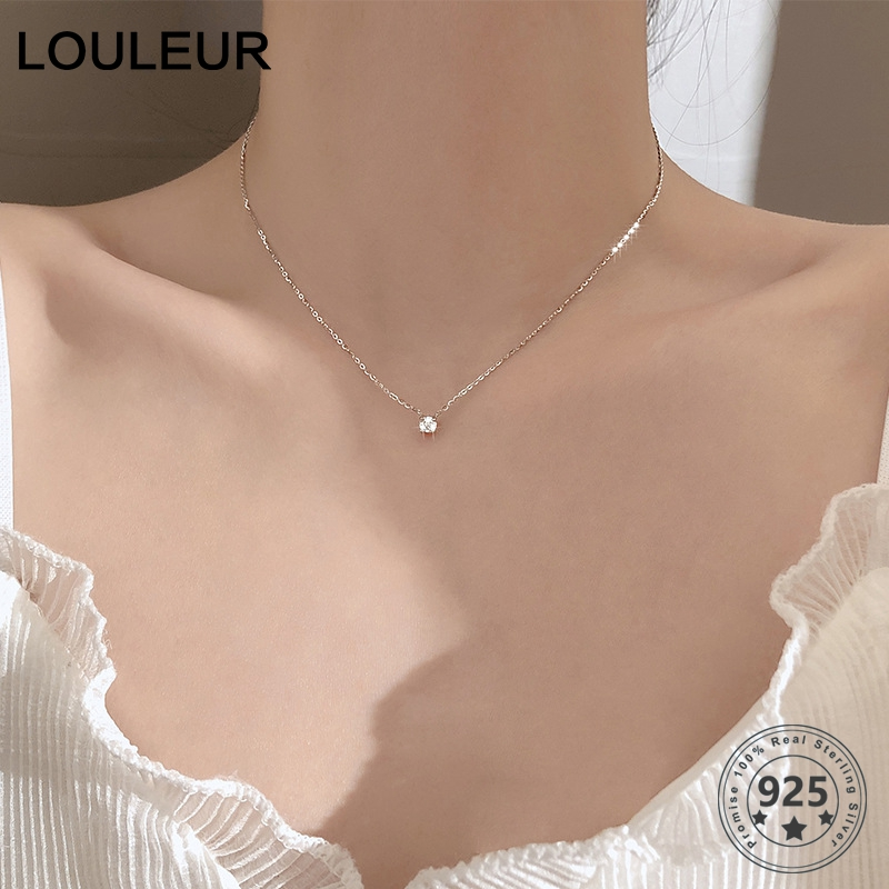 Louleur 925 Sterling Silver Necklace 0.3cm/0.4cm/0.5cm Zircon Necklace For Women Summer Fashion Jewelry
