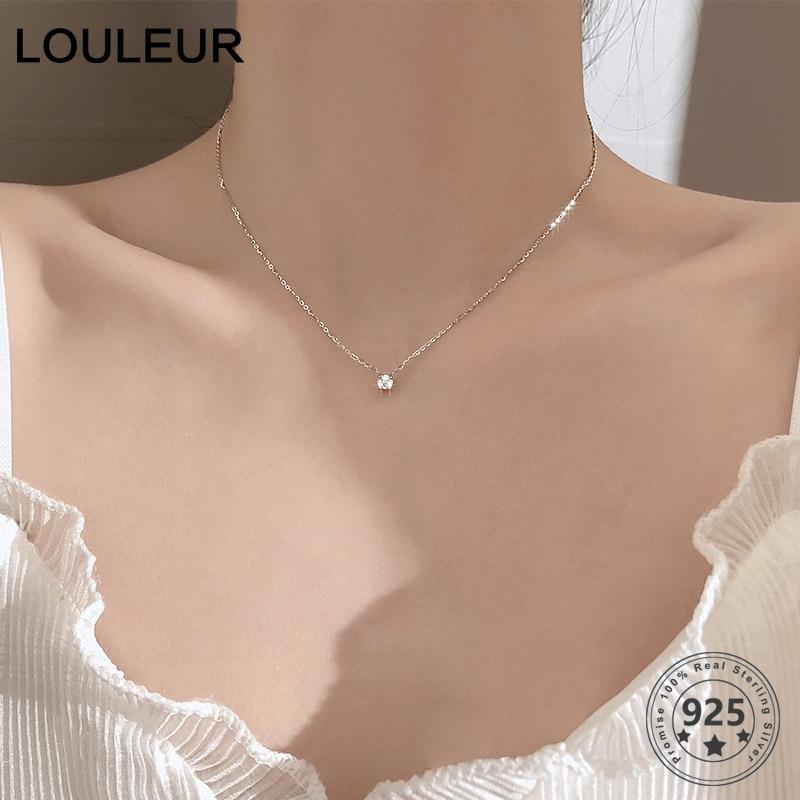 Louleur 925 Sterling Silver Necklace 0.3cm/0.4cm/0.5cm Zircon Necklace For Women Summer Fashion Jewelry