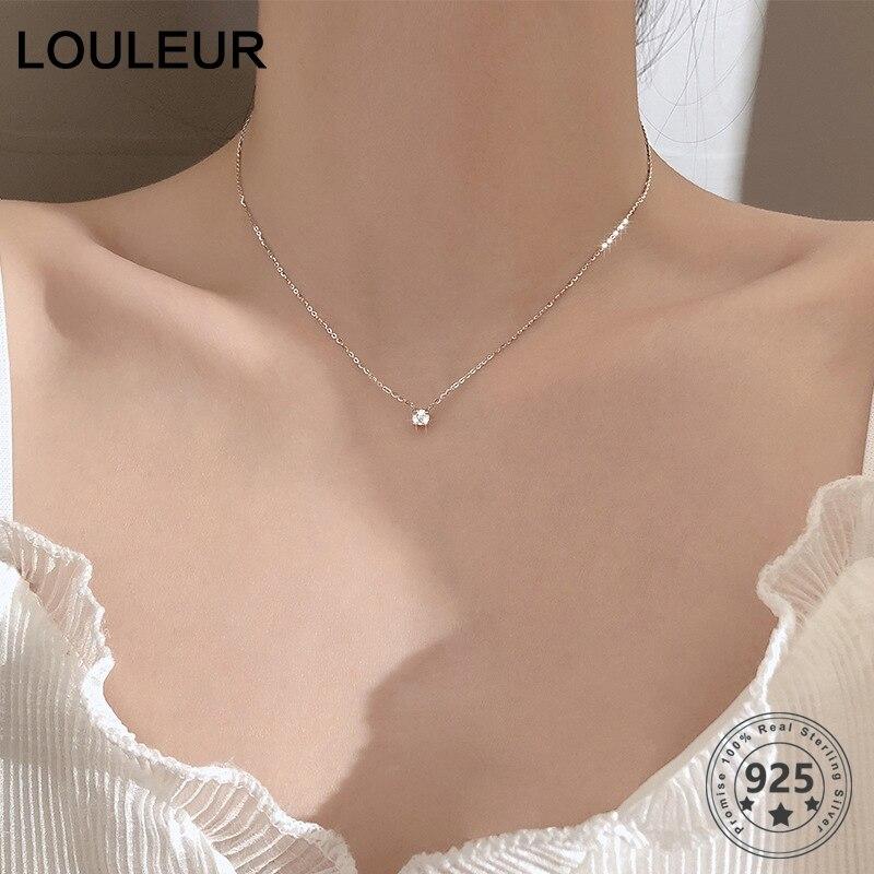 Louleur 925 sterling silver Necklace 0.3cm/0.4cm/0.5cm Zircon Necklace For Women Fashion Jewelry