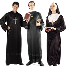 Halloween Cosplay Costumes for Men Women Pirest Missionary Long Gown Middle Ages Religion Church Nun Dress with Veil Performance