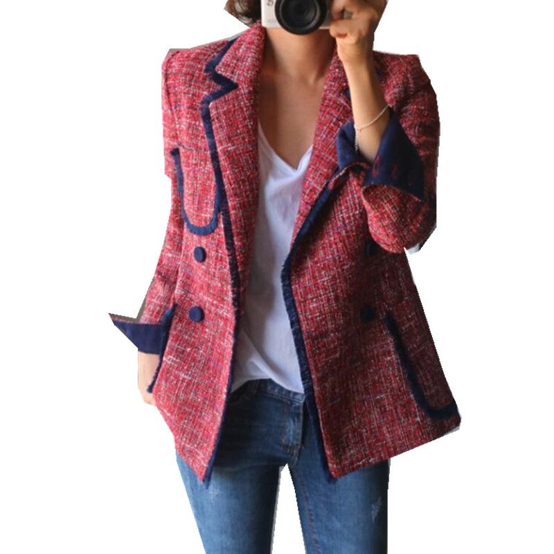 2019 Retro Mix Colored Check Plaid Tassel Blazer Chic Women Pockets Fringed Basic Coat Soft Woolen Women Coat Outerwear Tops