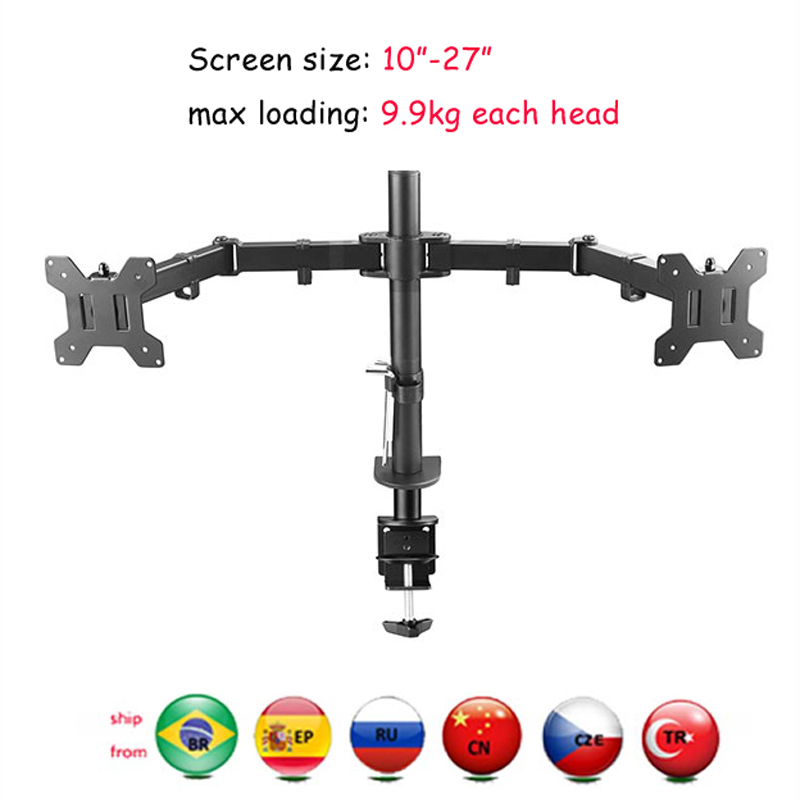 """DL MS02 Desktop Stand Full Motion 360 Degree steel Dual Monitor Holder 10"""" 27"""" clamp base Monitor Mount Arm Loading 9.9kgs TV Mount     - title="""
