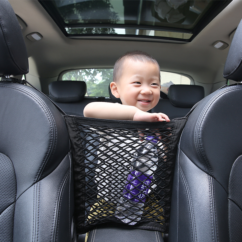 Car Interior Trunk Seat Back Elastic Mesh Net Car Styling Storage Bag Pocket Cage velcro Grid Pocket Holder Car Accessories Trun