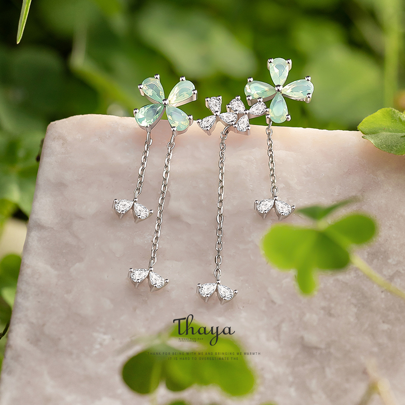 Thaya Genuine 925 Sterling Silver Cubic Zircon Stud Clover Drop Earrings For Women Engagement Gift Fine Jewerlry