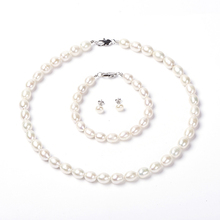 Natural Freshwater Pearl Jewelry Set 925 Sterling Silver Necklace Bracelet Earrings For Women Fashion wedding gift