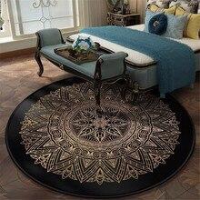 Vintage europeo negro oro redondo de lujo alfombra de estilo geométrico patrón alfombra dormitorio cabecera cojín silla cojín Retro